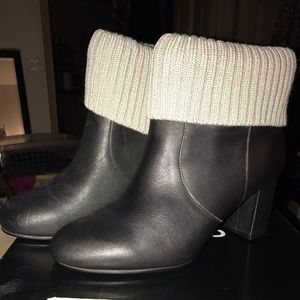 Torrid Black Faux Leather Sweater Knit Boots